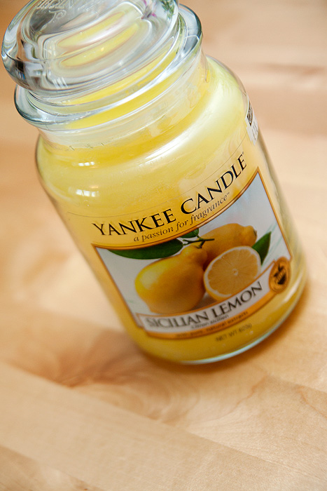 And I bought a large Yankee Candle Jar in a super-lemony scent for a nice ...