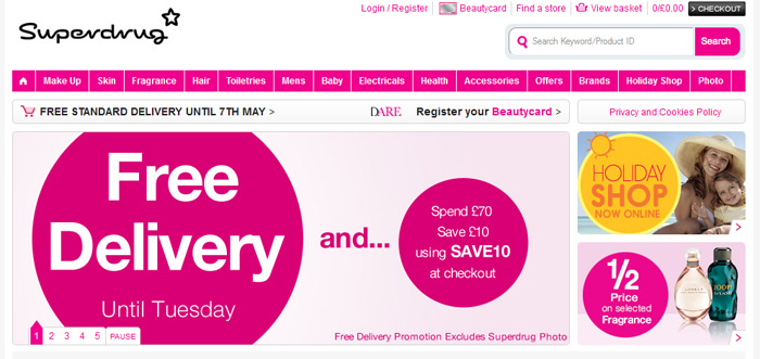 Yes, Superdrug offers Free Standard Shipping all the time. Free working days standard delivery on all orders. Free 7 working days standard dlivery for Health .