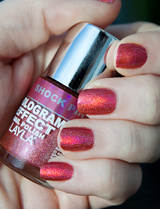 Layla Shocking Pink Hologram Holographic Polish